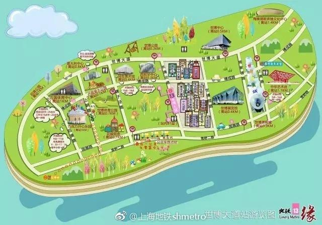 上海地铁牛人再发威 手绘世博大道周边游玩地图 市民游客大赞