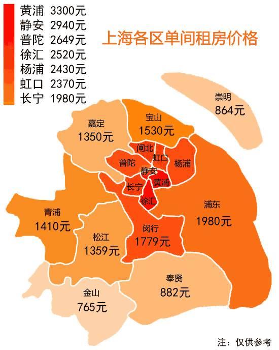 △上海区域地图以及单间价格